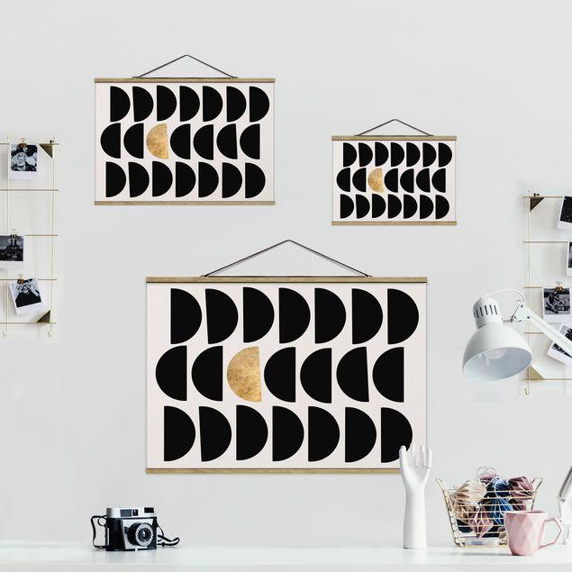 Stoffbild mit Posterleisten - Geometrischer Halbkreis II - Querformat 3:2
