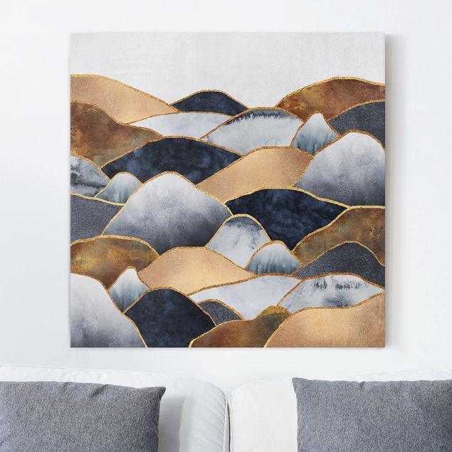 Leinwandbild - Goldene Berge Aquarell - Quadrat 1:1