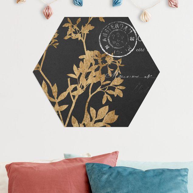 Hexagon Bild Alu-Dibond - Goldene Blätter auf Mokka I