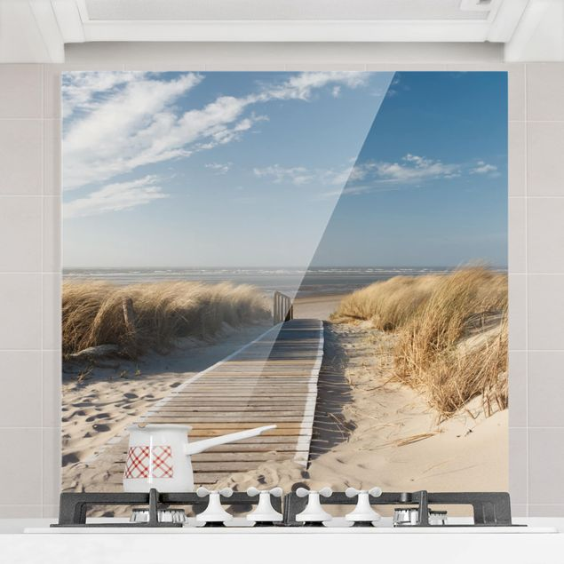 Glas Spritzschutz - Ostsee Strand - Quadrat - 1:1
