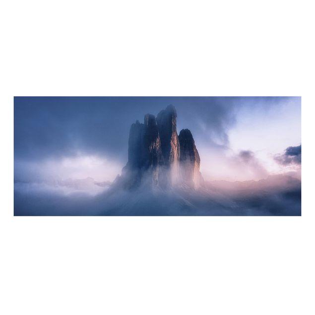 Forex Fine Art Print - Drei Zinnen in blauem Licht - Panorama
