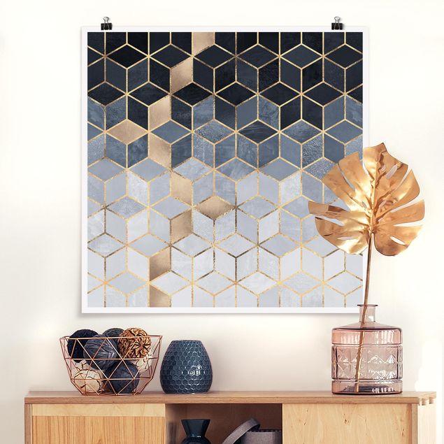 Poster - Blau Weiß goldene Geometrie - Quadrat 1:1