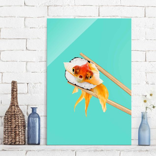 Glasbild - Jonas Loose - Sushi mit Goldfisch - Hochformat 3:2