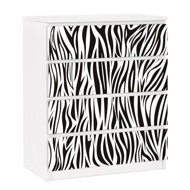 Möbelfolie für IKEA Malm Kommode - selbstklebende Folie Zebra Pattern