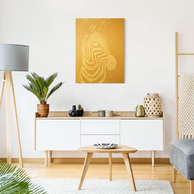 Leinwandbild Gold - Safari Tiere - Portrait Zebra Beige - Hochformat 3:4