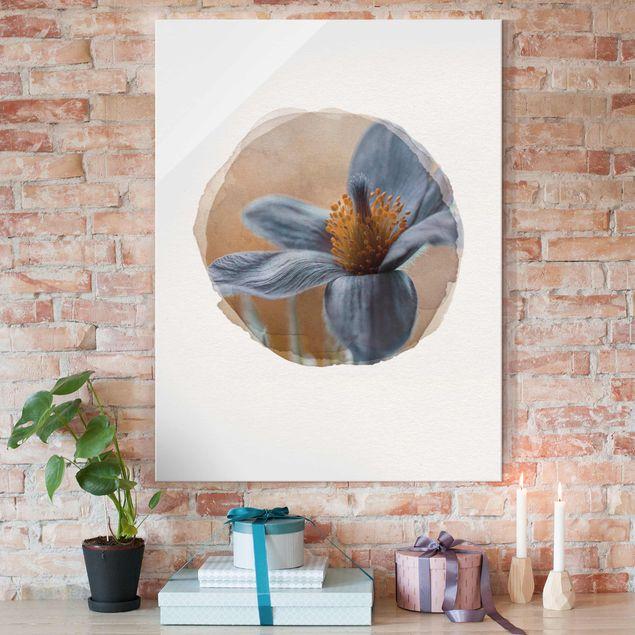 Glasbild - Wasserfarben - Kuhschelle in Blau - Hochformat 4:3
