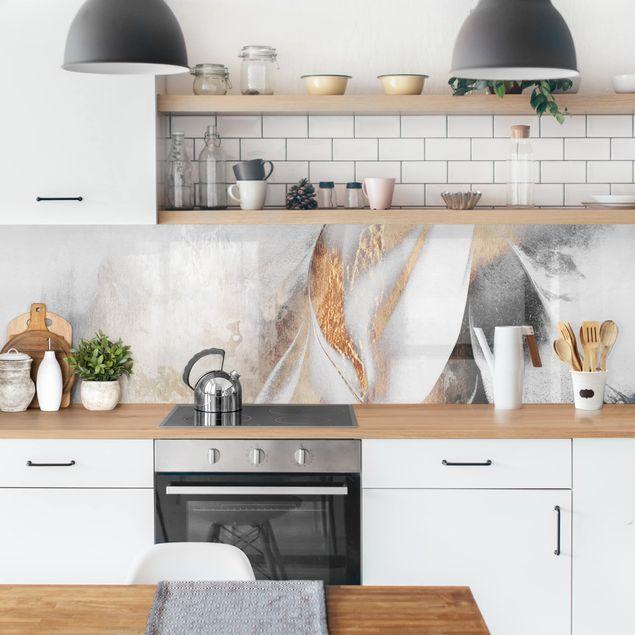 Küchenrückwand - Goldene abstrakte Wintermalerei