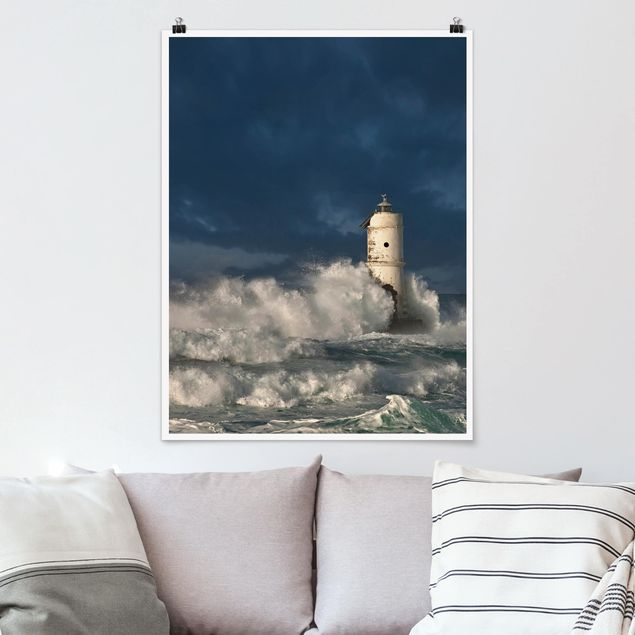 Poster - Leuchtturm auf Sardinien - Hochformat 3:4