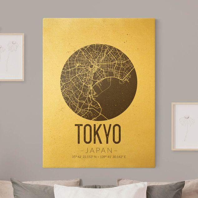 Leinwandbild Gold - Stadtplan Tokyo - Retro - Hochformat 3:4
