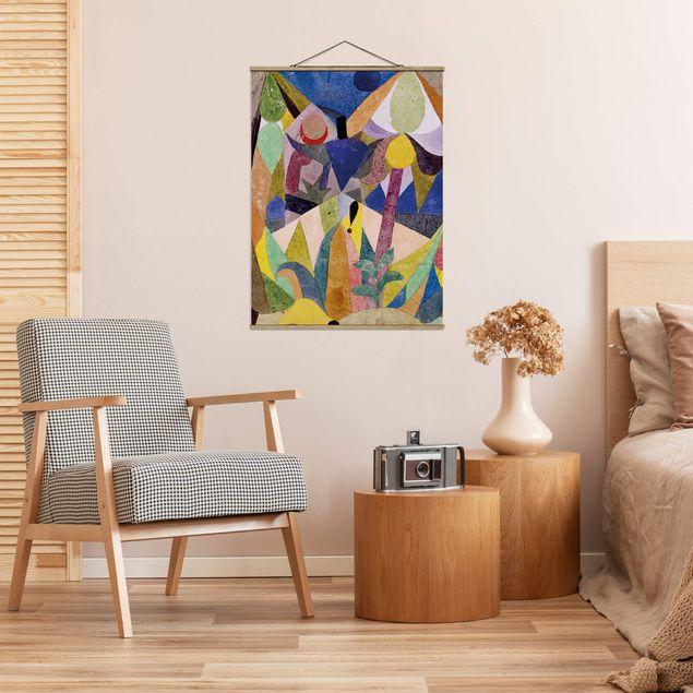 Stoffbild mit Posterleisten - Paul Klee - Mildtropische Landschaft - Hochformat 3:4