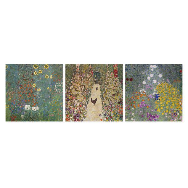 Leinwandbild 3-teilig - Gustav Klimt - Im Garten - Quadrate 1:1