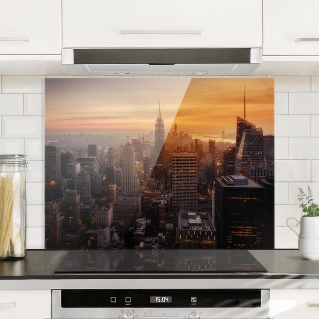 Glas Spritzschutz - Manhattan Skyline Abendstimmung - Querformat - 4:3