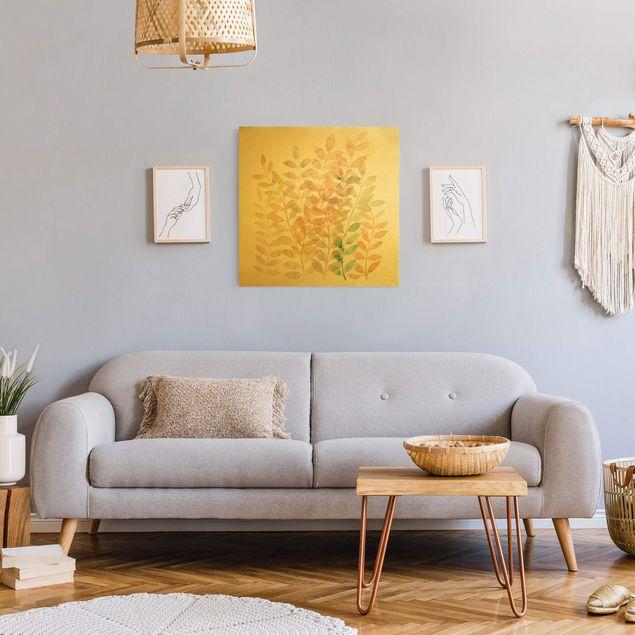 Leinwandbild Gold - Sommerlicher Blätterreigen - Quadrat 1:1
