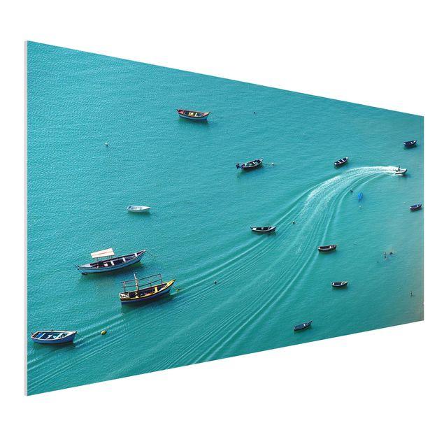 Forex Fine Art Print - Ankernde Fischerboote - Querformat 1:2
