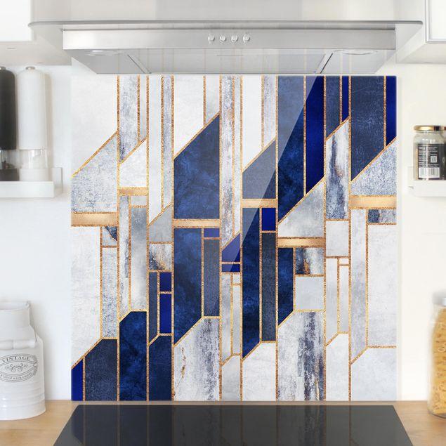 Glas Spritzschutz - Geometrische Formen mit Gold - Quadrat - 1:1