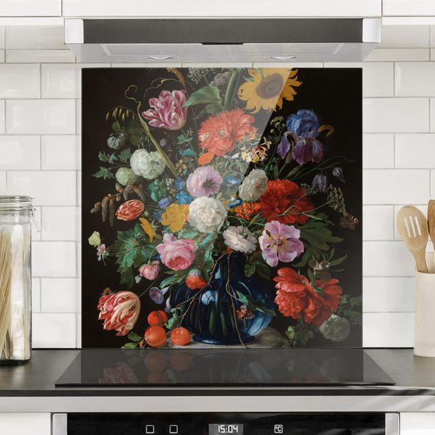 Spritzschutz Glas - Jan Davidsz de Heem - Glasvase mit Blumen - Quadrat 1:1