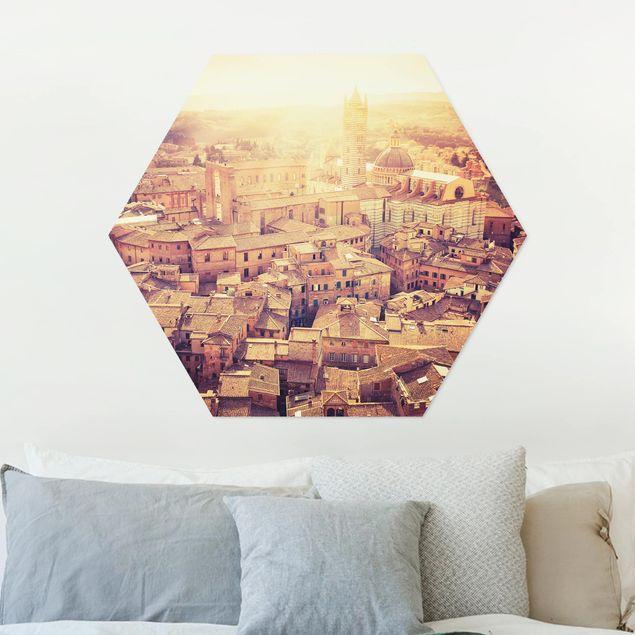 Hexagon Bild Alu-Dibond - Fiery Siena