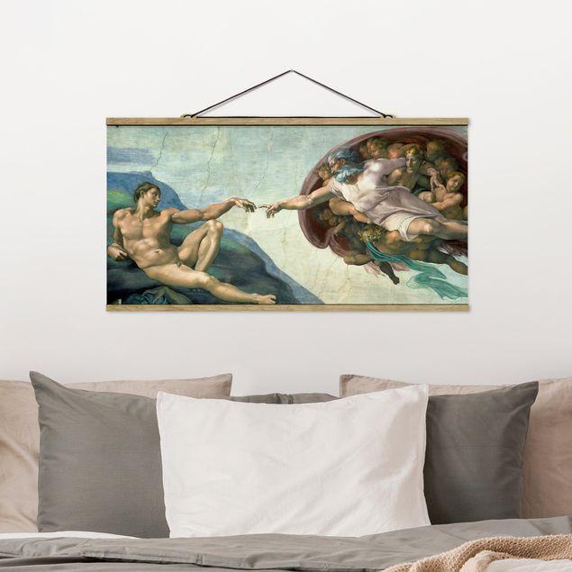 Stoffbild mit Posterleisten - Michelangelo - Sixtinischen Kapelle - Querformat 1:2