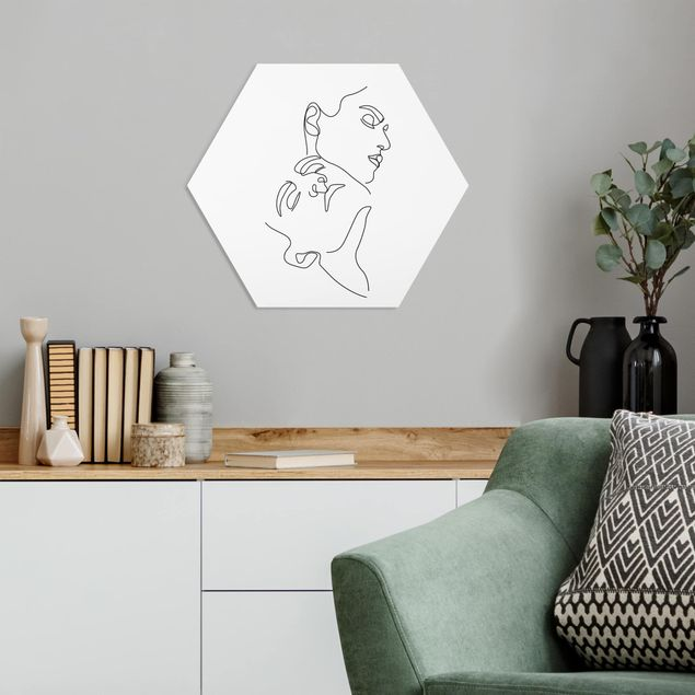 Hexagon Bild Forex - Line Art Frauen Gesichter Weiß