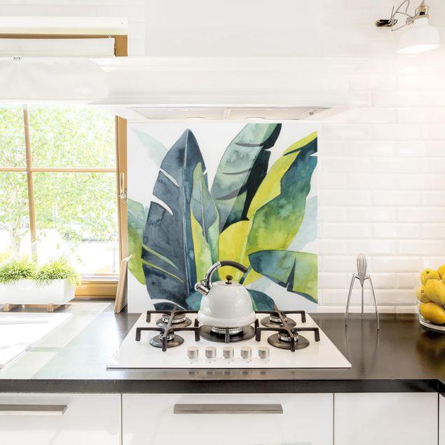 Glas Spritzschutz - Tropisches Blattwerk - Banane - Quadrat - 1:1