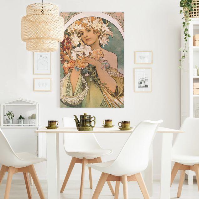 Leinwandbild - Alfons Mucha - Blume - Hochformat 3:2