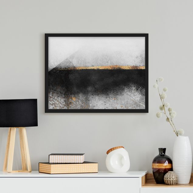 Bild mit Rahmen - Abstrakter Goldener Horizont Schwarz Weiß - Querformat 3:4