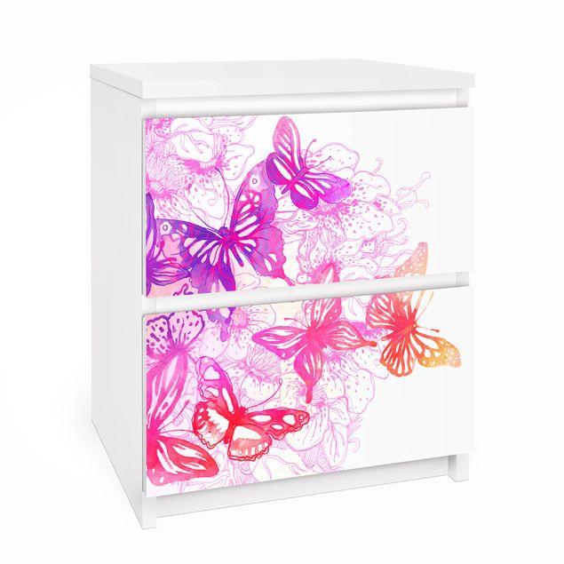 Möbelfolie für IKEA Malm Kommode - Selbstklebefolie Schmetterlingstraum