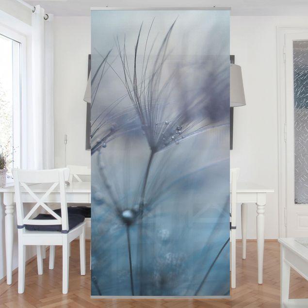 Raumteiler - Blaue Federn im Regen - 250x120cm