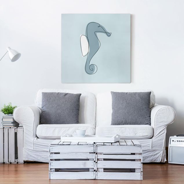 Leinwandbild - Seepferdchen Line Art - Quadrat 1:1