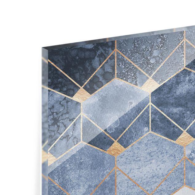 Spritzschutz Glas - Blaue Geometrie goldenes Art Deco - Panorama - 5:2