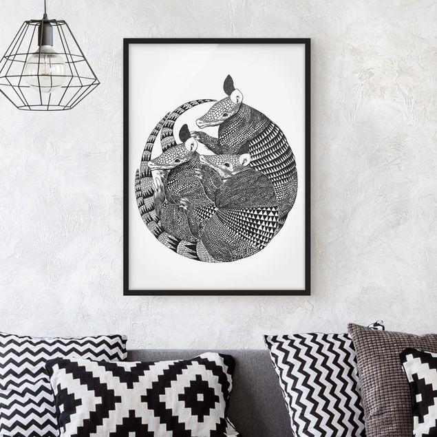 Bild mit Rahmen - Illustration Gürteltiere Schwarz Weiß Muster - Hochformat 4:3