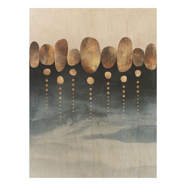 Holzbild - Abstrakte goldene Steine - Hochformat 4:3