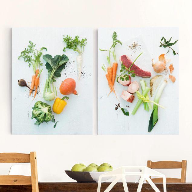 Leinwandbild 2-teilig - Gemüse und Rinder-Bouillon - Hoch 3:4