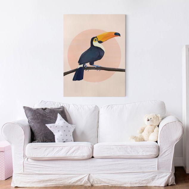 Leinwandbild - Illustration Vogel Tukan Malerei Pastell - Hochformat 4:3