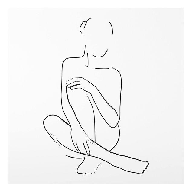 Forex Fine Art Print - Line Art Frau sitzt Schwarz Weiß - Quadrat 1:1