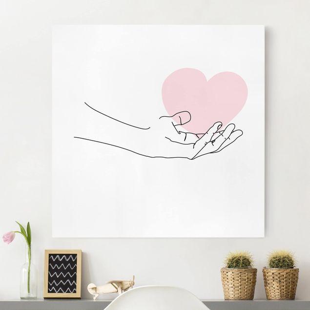 Leinwandbild - Hand mit Herz Line Art - Quadrat 1:1