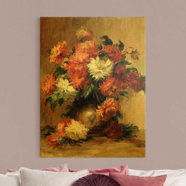 Leinwandbild Gold - Auguste Renoir - Stillleben mit Dahlien - Hochformat 3:4