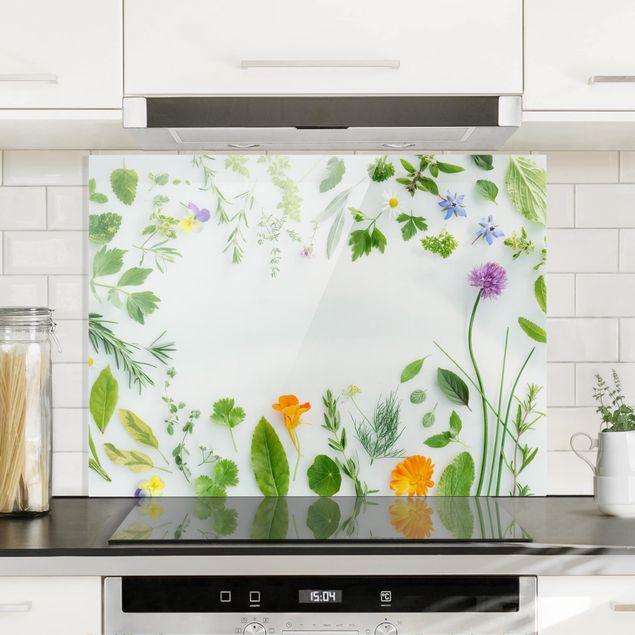 Glas Spritzschutz - Kräuter und Blüten - Querformat - 4:3