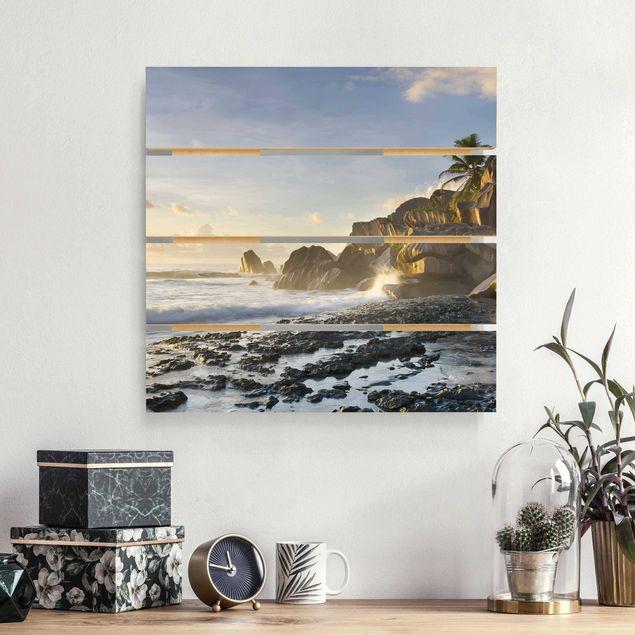 Holzbild - Sonnenuntergang im Inselparadies - Quadrat 1:1