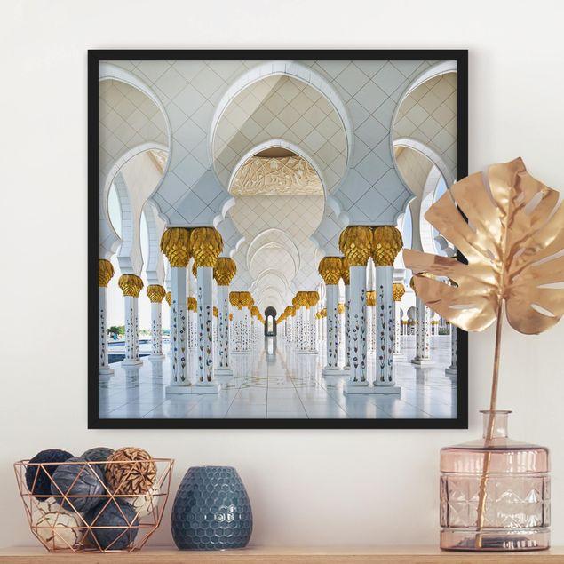 Bild mit Rahmen - Moschee in Abu Dhabi - Quadrat 1:1