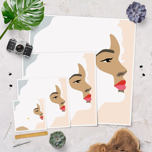 Poster - Line Art Portrait Frau Pastell Rosa - Quadrat 1:1