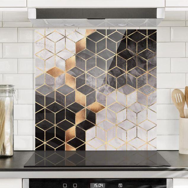 Spritzschutz Glas - Schwarz Weiß goldene Geometrie - Quadrat 1:1