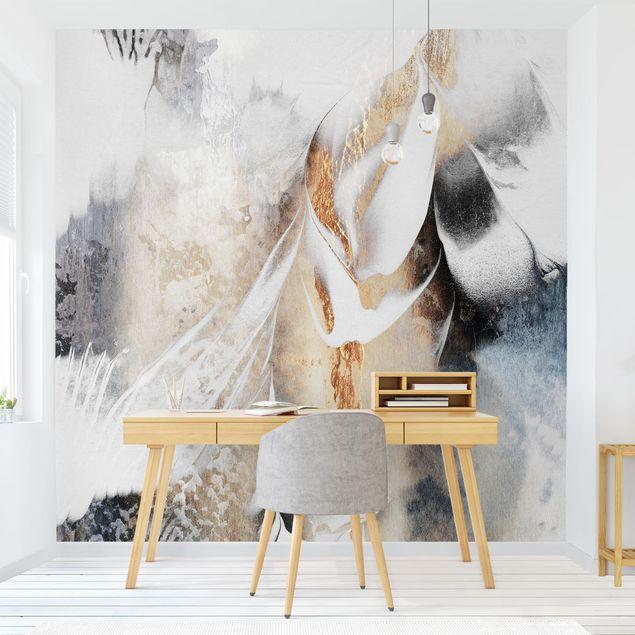 Fototapete - Goldene abstrakte Wintermalerei - Fototapete Quadrat