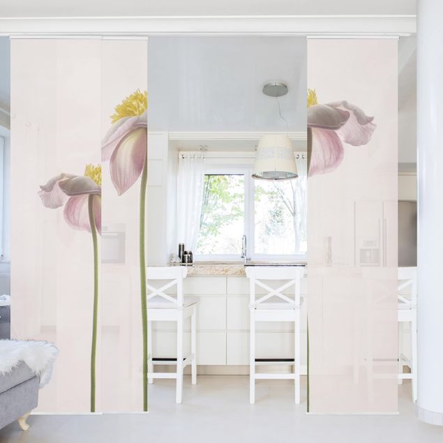 Schiebegardinen Set - Rosa Anemonenblüten - Flächenvorhang