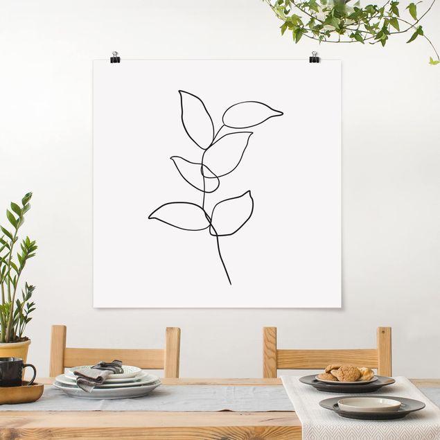 Poster - Line Art Zweig Schwarz Weiß - Quadrat 1:1
