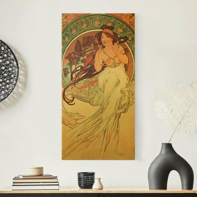 Leinwandbild Gold - Alfons Mucha - Vier Künste - Die Musik - Hochformat 1:2