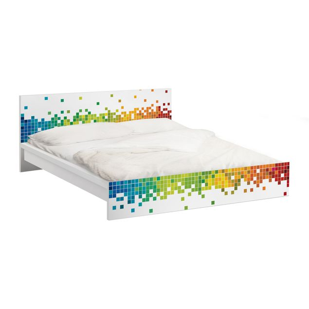 Möbelfolie für IKEA Malm Bett niedrig 160x200cm - Klebefolie Pixel-Regenbogen