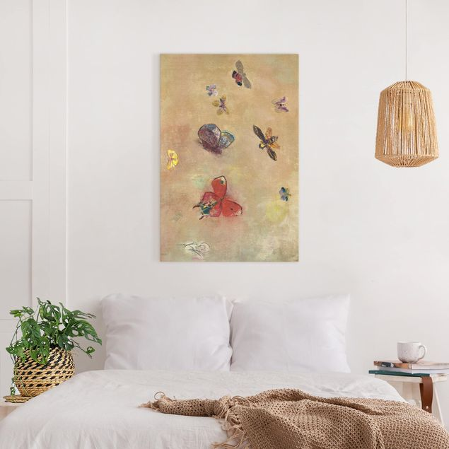 Leinwandbild - Odilon Redon - Bunte Schmetterlinge - Hochformat 3:2