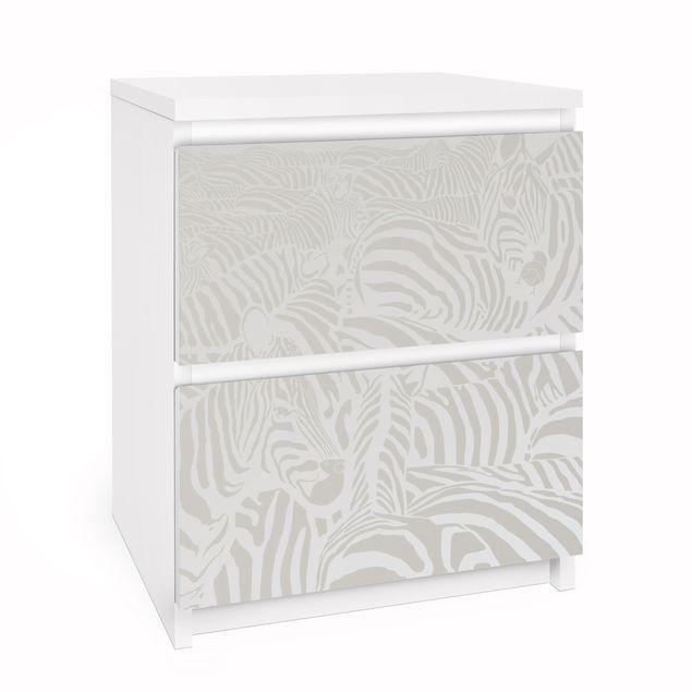 Möbelfolie für IKEA Malm Kommode - Selbstklebefolie No.DS4 Zebrastreifen Hellgrau