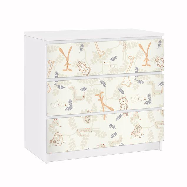 Möbelfolie für IKEA Malm Kommode - Klebefolie Pastel Plushies